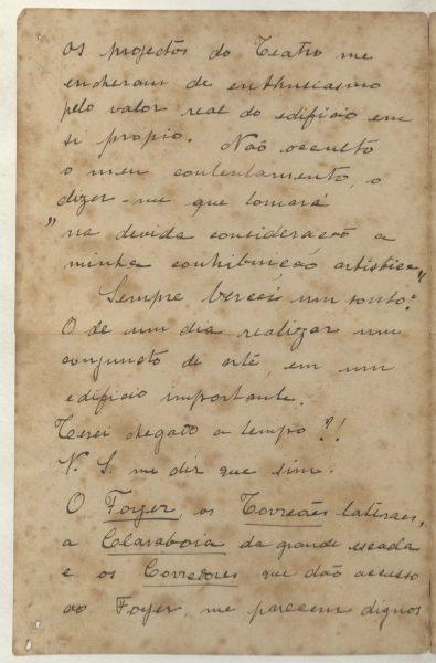 CARTA DE VISCONTI A FRANCISCO OLIVEIRA PASSOS - 1905 - PAG. 2
