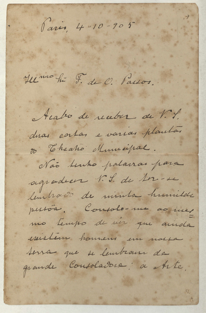 CARTA DE VISCONTI A FRANCISCO OLIVEIRA PASSOS ACEITANDO O CONVITE PARA EXECUÇÃO DAS PINTURAS DO THEATRO MUNICIPAL - 1905