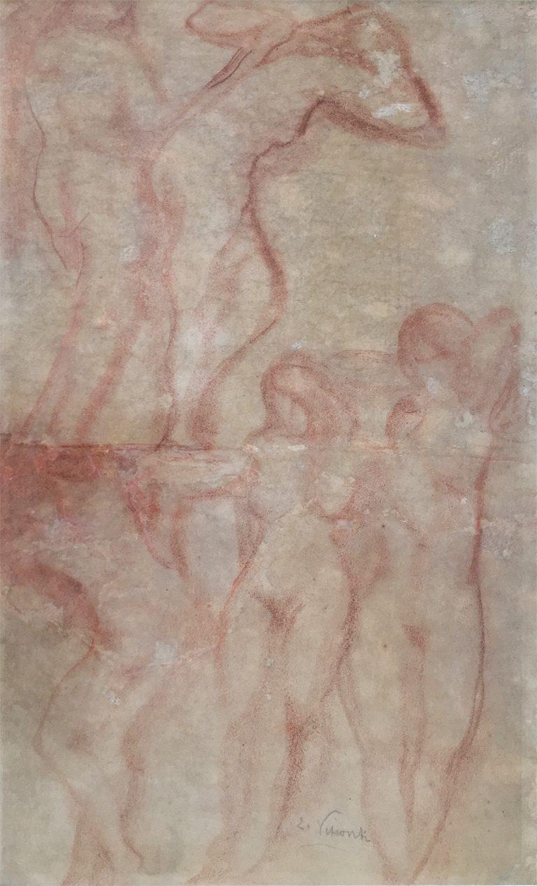 NUS FEMININOS - SANGUÍNEA - 41,5 x 25,5 cm - c.1900 - COLEÇÃO PARTICULAR