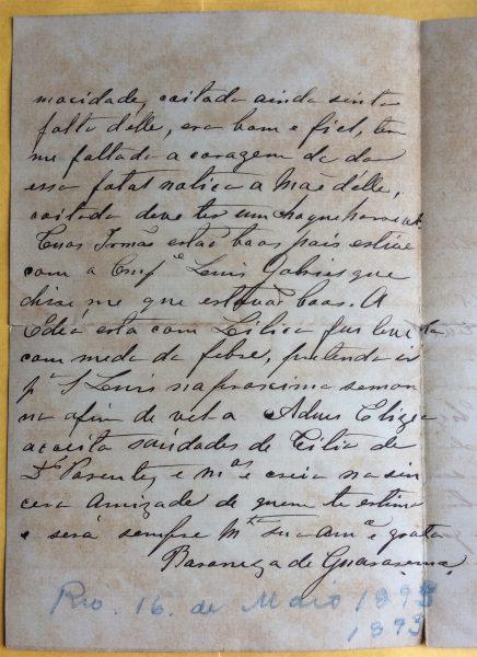 CARTA DA BARONESA DE GUARAREMA A VISCONTI - PÁG. 2 - 16 DE MAIO DE 1893