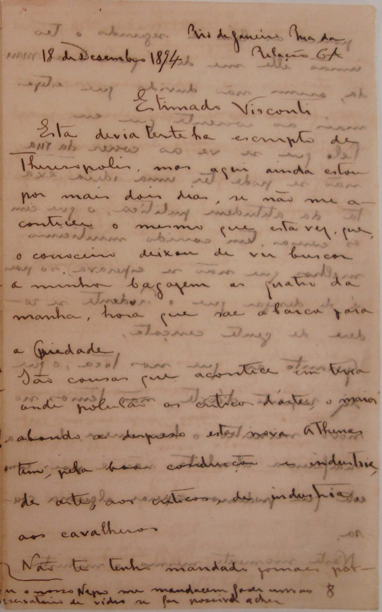 CARTA DE HENRIQUE BERNARDELLI A VISCONTI EM 18 DE DEZEMBRO DE 1894