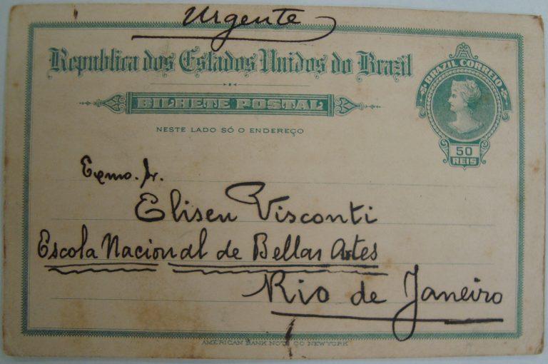 CARTÃO DE AMADEU AMARAL A ELISEU VISCONTI