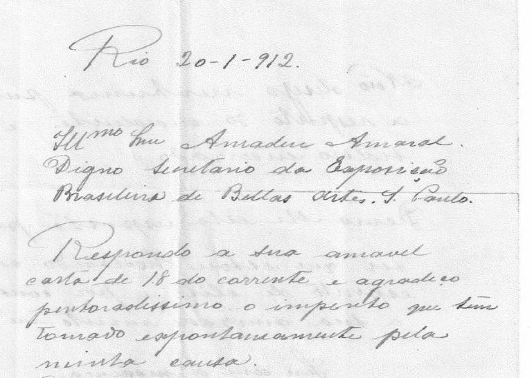 CARTA DE ELISEU VISCONTI A AMADEU AMARAL - PAG. 1 SUPERIOR
