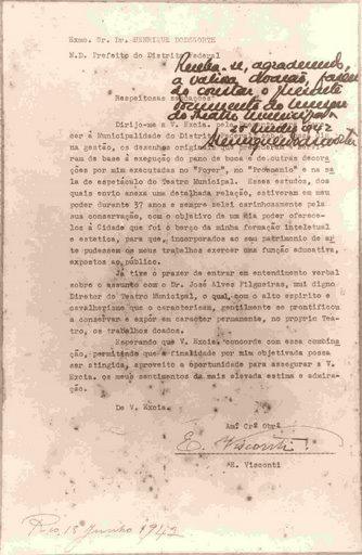 CARTA DE VISCONTI DOANDO OS ESTUDOS DO THEATRO MUNICIPAL