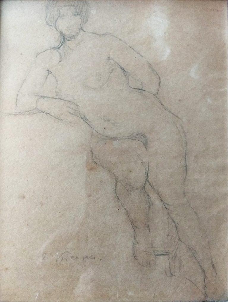 NU FEMININO RECOSTADO - GRAFITE SOBRE PAPEL - 25,0 x 20,0 cm - c.1900 - COLEÇÃO PARTICULAR