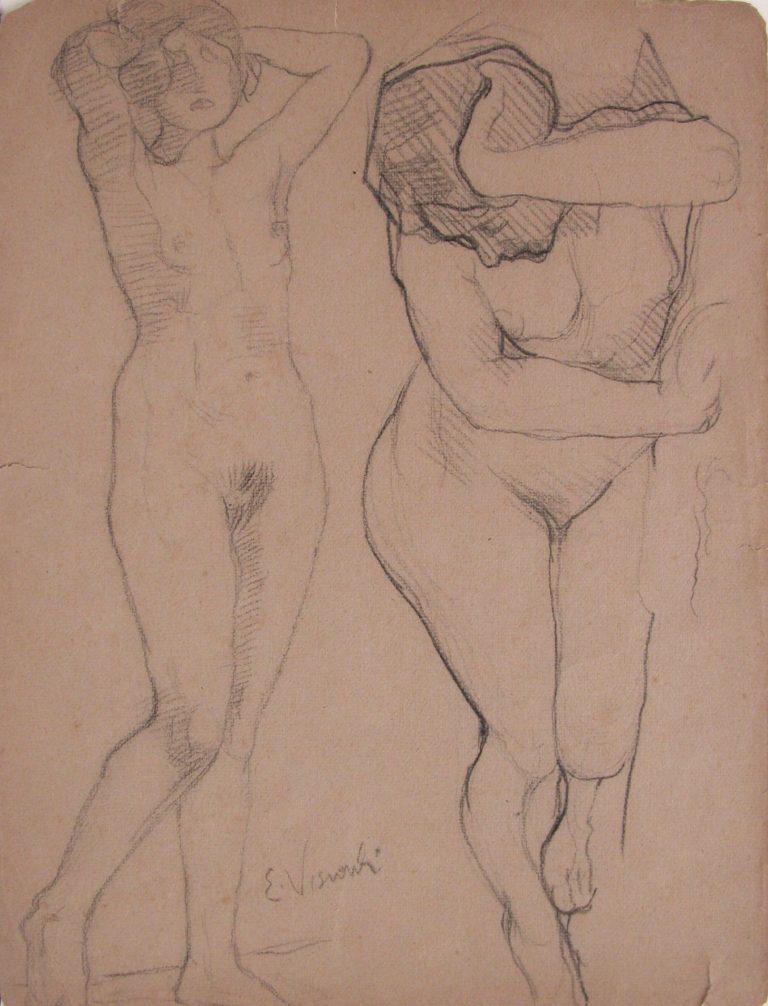 NUS FEMININOS - CRAYON SOBRE PAPEL - 33,2 x 24,0 cm - c.1905 - COLEÇÃO PARTICULAR