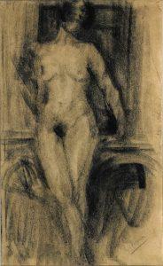 NU FEMININO DE PÉ - CARVÃO SOBRE PAPEL - 42 x 25 cm - c.1900 - COLEÇÃO PARTICULAR