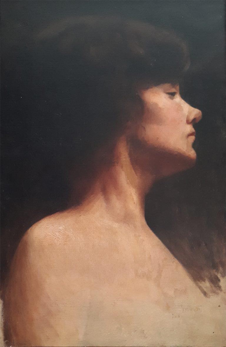 PERFIL FEMININO - OST - 46,0 x 30,3 cm - c.1906 - COLEÇÃO PARTICULAR