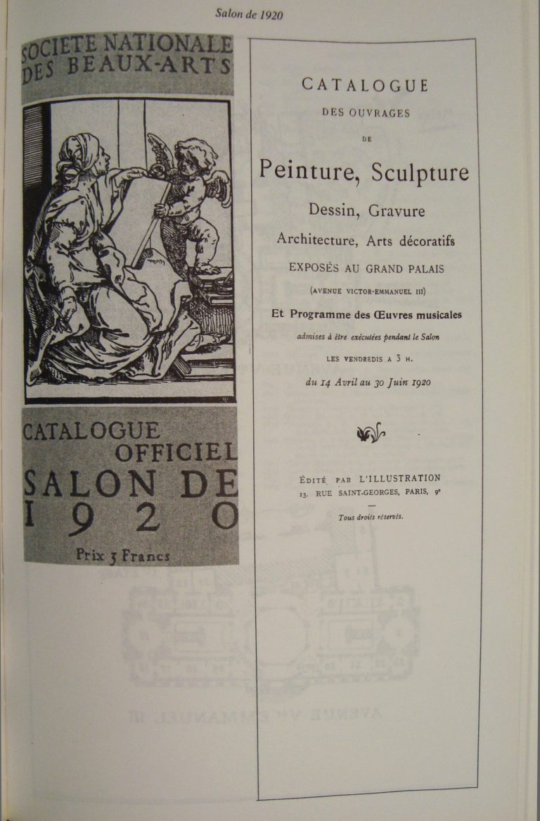 CATÁLOGO DO SALON DE LA SOCIÉTÉ NATIONALE DES BEAUX-ARTS – 1920