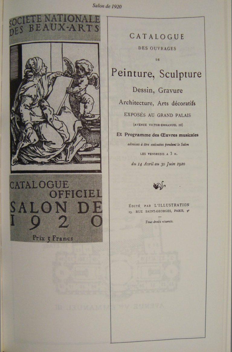 CATÁLOGO DO SALON DE LA SOCIÉTÉ NATIONALE DES BEAUX-ARTS – 1920