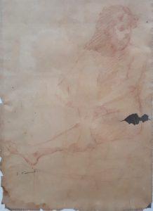 NU SENTADO - SANGUÍNEA - 47,0 x 31,0 cm - c.1895 - COLEÇÃO PARTICULAR