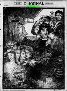 """CAPA PARA EDIÇÃO ESPECIAL DE """"O JORNAL"""", DE 17 DE SETEMBRO DE 1928, COMEMORATIVA DO ESTADO DE PERNAMBUCO - DESENHO ORIGINAL DE LOCALIZAÇÃO DESCONHECIDA"""
