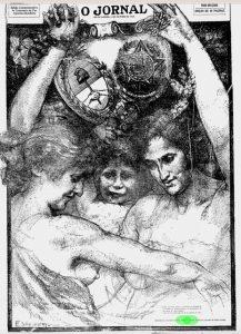 """CAPA PARA EDIÇÃO ESPECIAL DE """"O JORNAL"""", DE 12 DE OUTUBRO DE 1928, COMEMORATIVA DO PRIEMIRO CENTENÁRIO DA PAZ ARGENTINO-BRASILEIRA - DESENHO ORIGINAL DE LOCALIZAÇÃO DESCONHECIDA"""