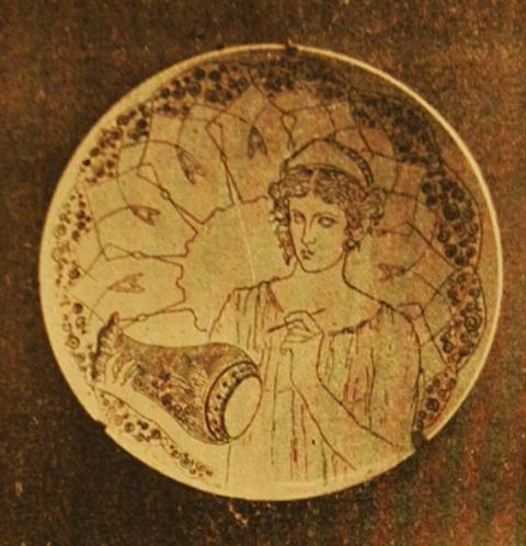PRATO COM MOÇA E JARRO - CERÂMICA PINTADA - c.1901 - LOCALIZAÇÃO DESCONHECIDA