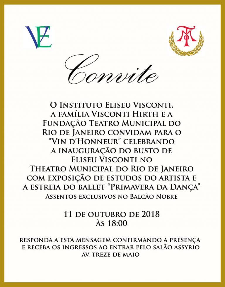 """Convite para inauguração do busto de Visconti no Theatro Municipal e para a exposição """"Eliseu Visconti e o Theatro Municipal"""""""