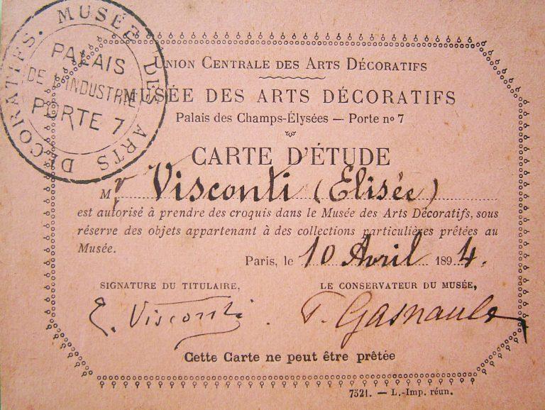 Autorização para Visconti desenhar no Museu de Artes Decorativas em Paris - 1894