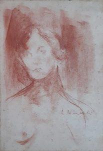 FIGURA FEMININA - SANGUÍNEA -22,5 x 15,5 cm - c.1905 - COLEÇÃO PARTICULAR
