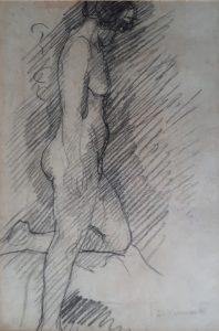NU FEMININO DE PERFIL - CRAYON SOBRE PAPEL - 37,0 x 25,0 cm - c.1896 - COLEÇÃO PARTICULAR