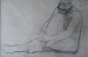 NU FEMININO SENTADO - CRAYON SOBRE PAPEL - 25,0 x 37,0 cm - c.1896 - COLEÇÃO PARTICULAR