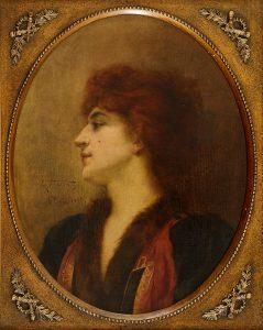 RETRATO FEMININO - OST - 57,5 x 45,6 cm - 1894 - COLEÇÃO PARTICULAR