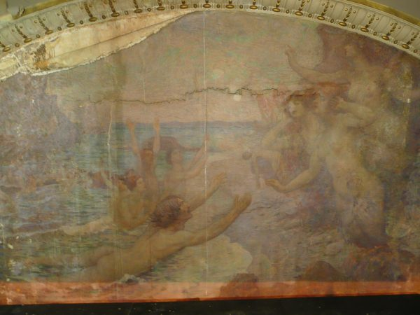 """Painel """"A Arte Lírica"""" antes do restauro de 2009"""