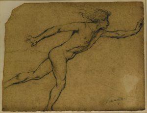 NU MASCULINO EM MOVIMENTO - CRAYON SOBRE PAPEL - 23,0 x 31,0 cm - c.1900 - COLEÇÃO PARTICULAR