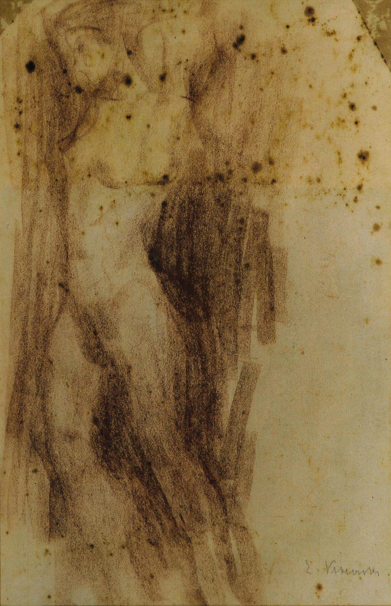 NU FEMININO DE PÉ - CARVÃO SOBRE PAPEL - 39,0 x 25,0 cm - c.1900 - COLEÇÃO PARTICULAR