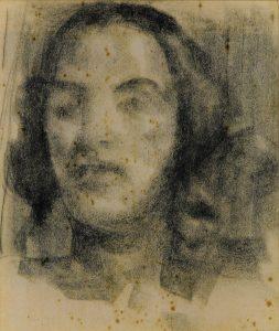 ROSTO FEMININO - CARVÃO SOBRE PAPEL - 30,0 x 25,0 cm - c.1900 - COLEÇÃO PARTICULAR