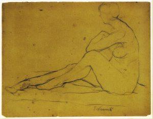 NU FEMININO SENTADO - CRAYON SOBRE PAPEL - 24,0 x 31,0 cm - c.1895 - COLEÇÃO PARTICULAR