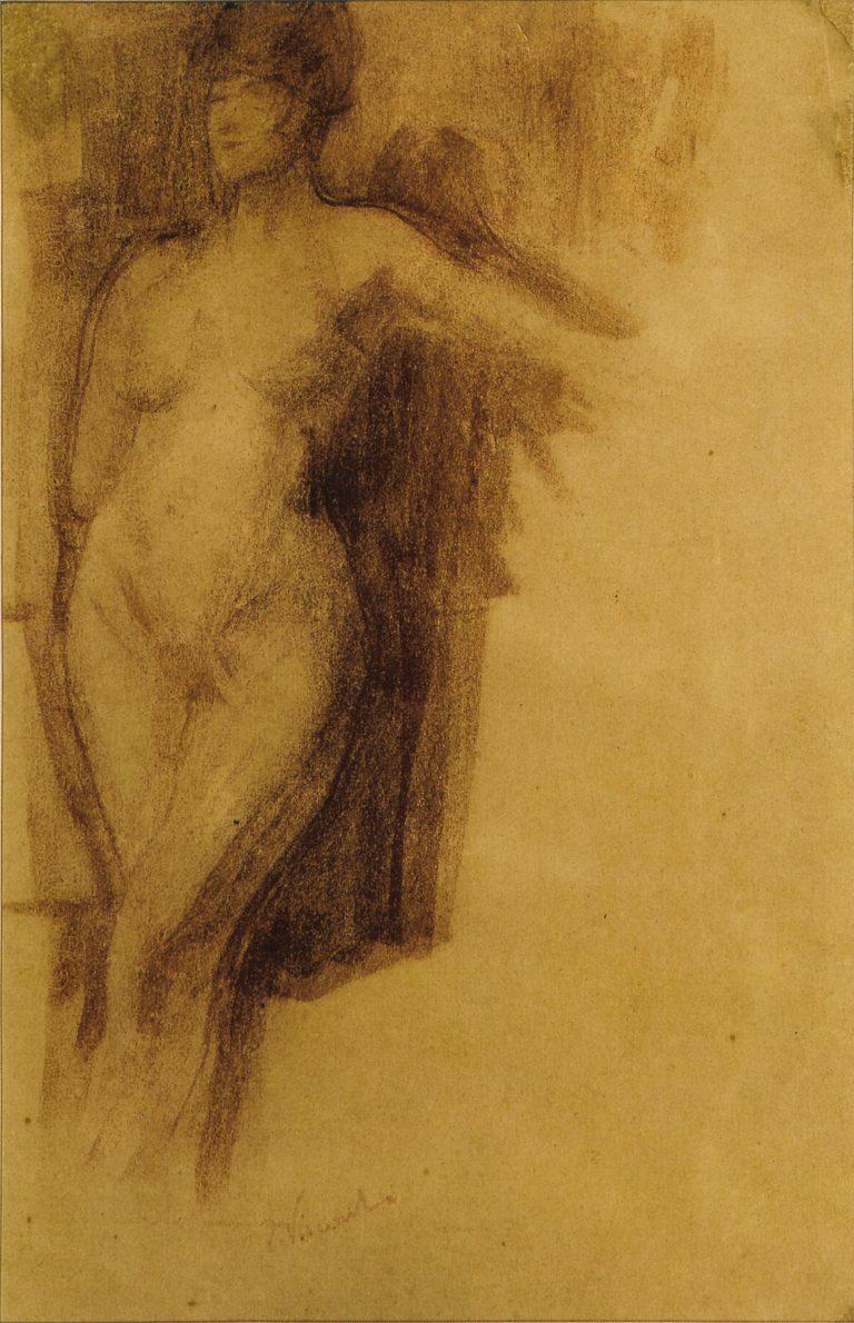 NU FEMININO DE PÉ - CARVÃO SOBRE PAPEL - 39,0 x 25,0 cm - c.1895 - COLEÇÃO PARTICULAR