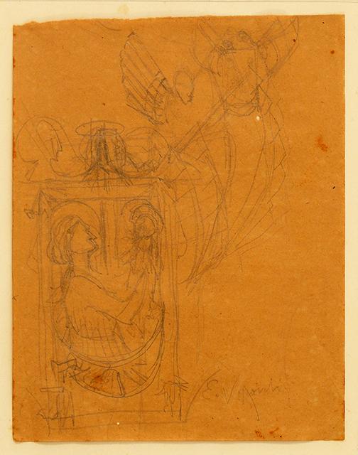 ESTUDO PARA CENA BÍBLICA - GRAFITE SOBRE PAPEL - 19,0 x 16,0 cm - c.1898 - COLEÇÃO PARTICULAR