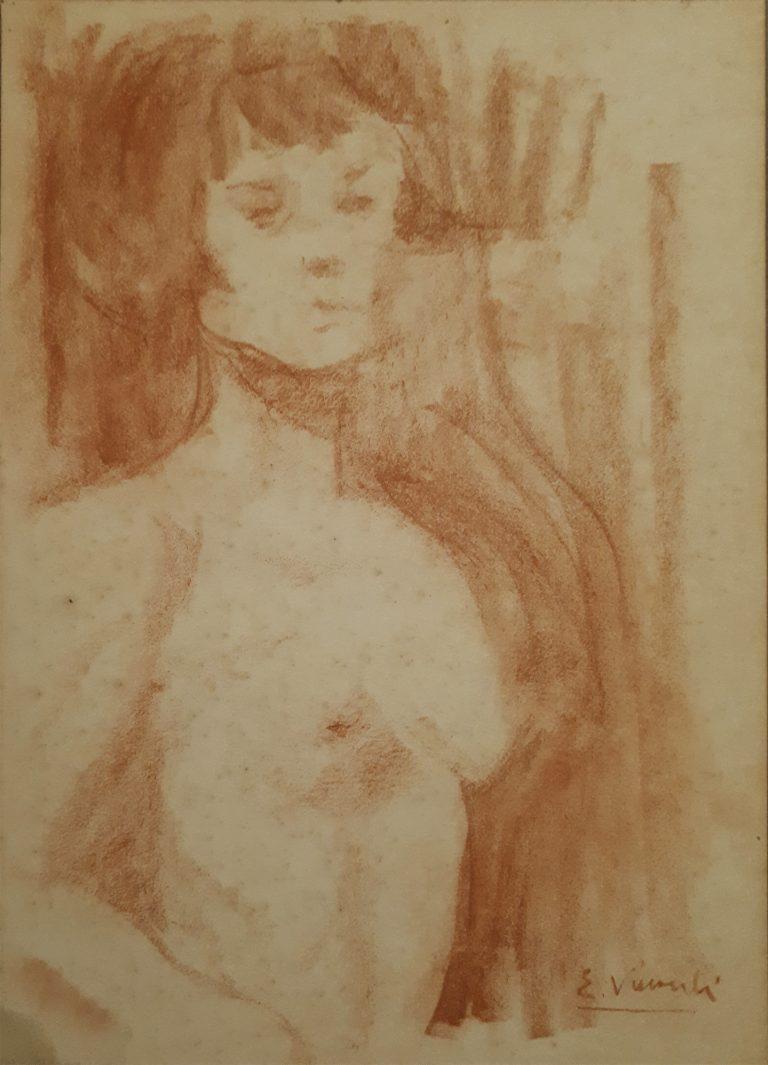 NU FEMININO - SANGUÍNEA - 22,5 x 16,0 cm - c.1905 - COLEÇÃO PARTICULAR