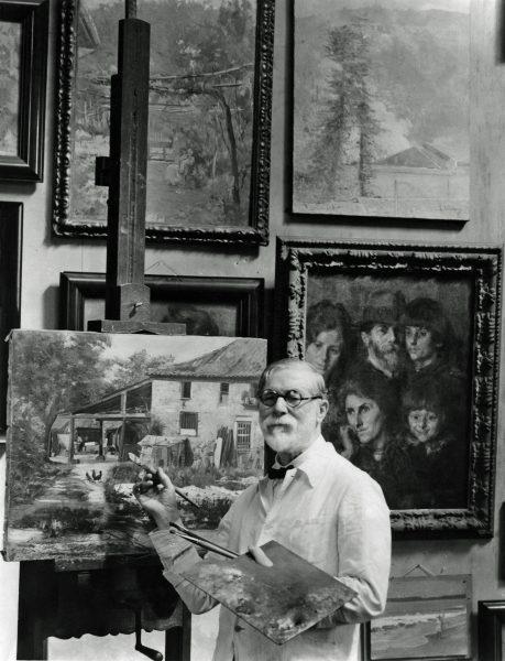 Pintando no atelier – 1942