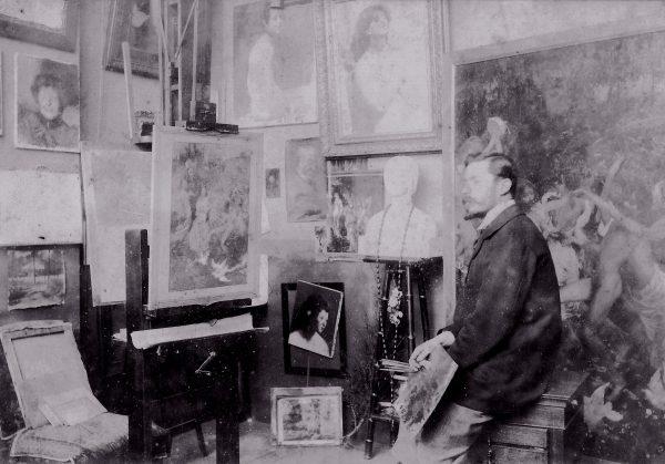 Visconti em seu ateliê em Paris - c.1899