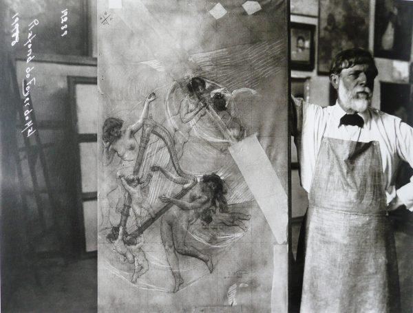 Visconti com estudo para o foyer do Theatro Municipal - c.1929 - Foto Augusto Malta