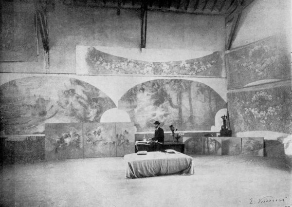 Foto onde aparecem as obras executadas para as arcadas da sala de espetáculos do Theatro Municipal - c.1915