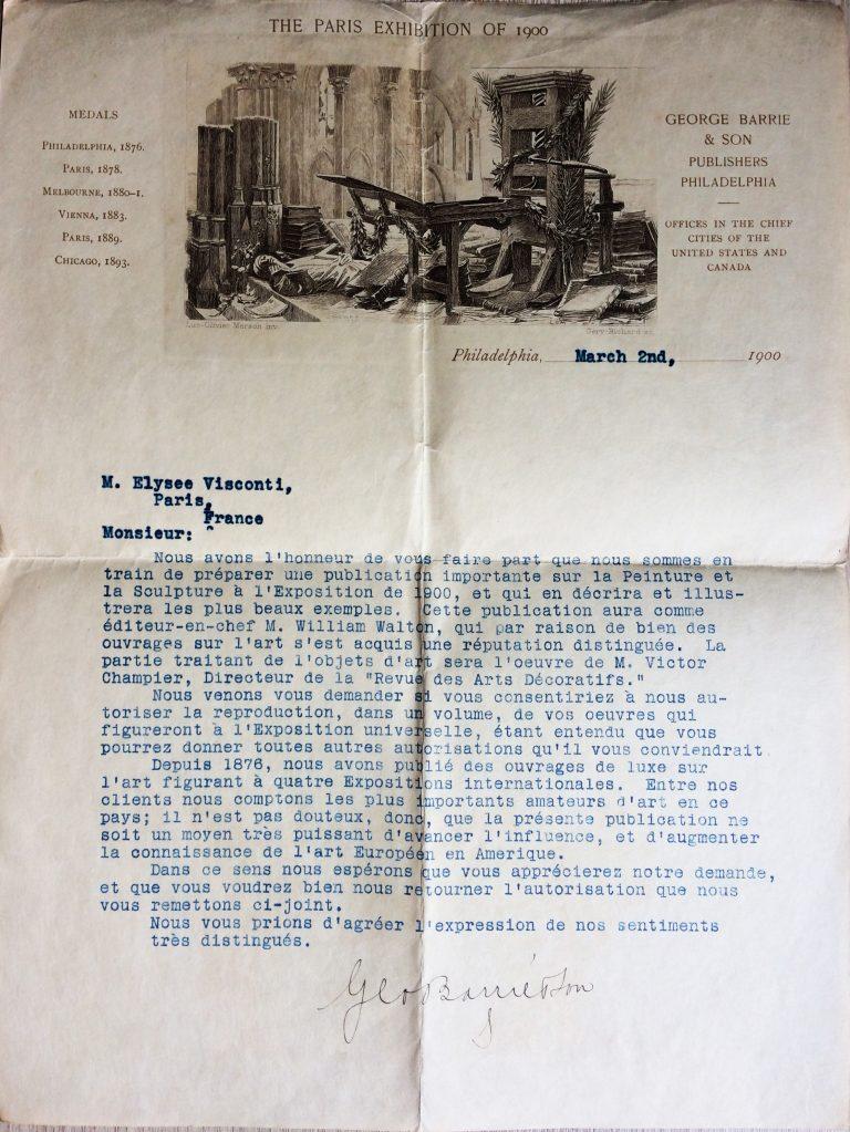 CARTA DE GEORGE BARRIE & SON SOLICITANDO AUTORIZAÇÃO PARA PUBLICAR IMAGENS DAS OBRAS QUE FIGURARAM NA EXPOSIÇÃO UNIVERSAL DE 1900