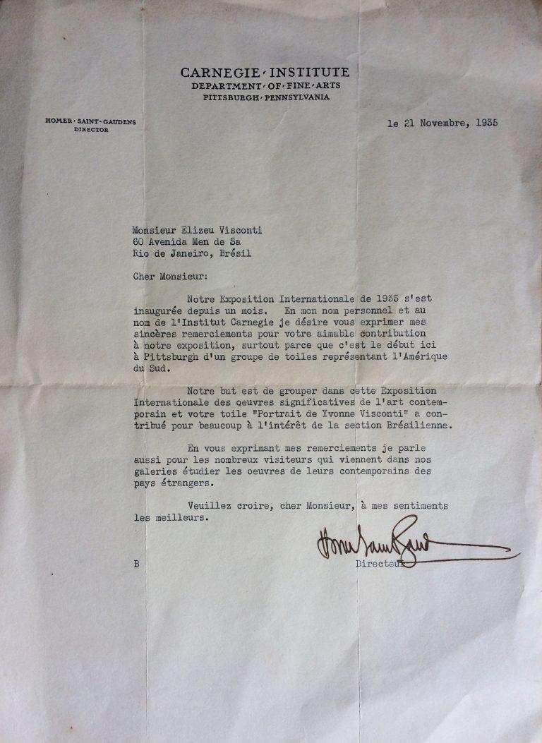 Carta de agradecimento do Carnegie Institute pela participação de Visconti na Exposição Internacional de Pintura em Pittsburgh (USA) – 1935