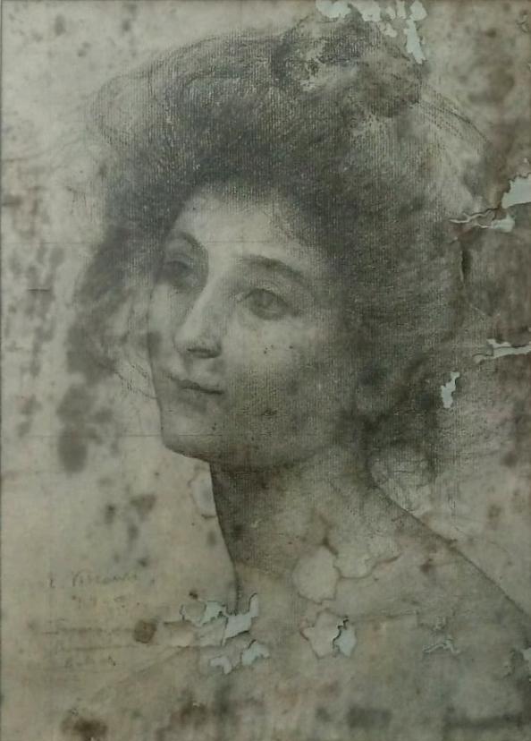 MODELO FEMININO (ESTUDO PARA A PROVIDÊNCIA GUIA CABRAL) - CRAYON SOBRE PAPEL - 35,0 x 25,0 cm - c.1899 - COLEÇÃO PARTICULAR