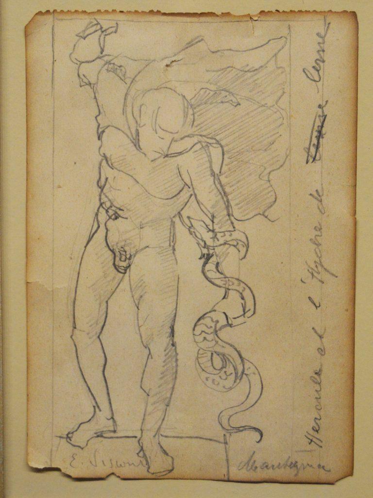 HÉRCULES E A HIDRA DE LERNA - CRAYON SOBRE PAPEL - 11,5 x 8,0 cm - c.1898 - COLEÇÃO PARTICULAR