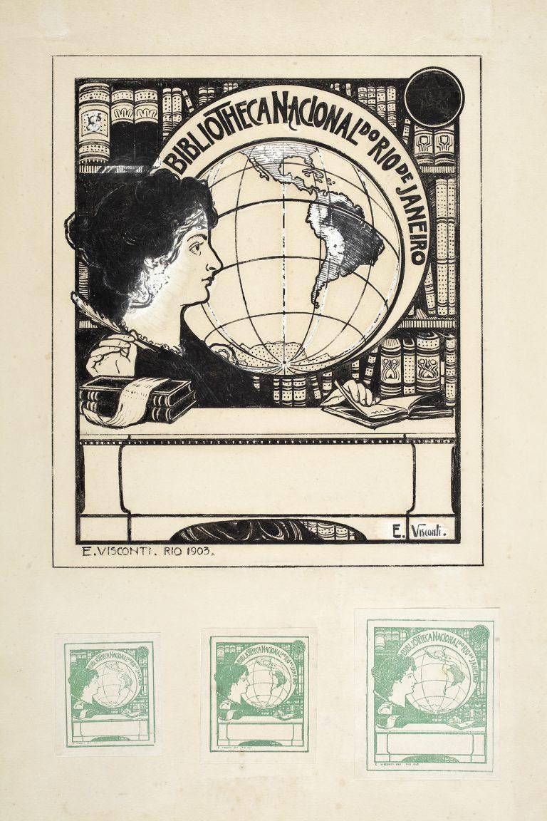 EX-LIBRIS DA BIBLIOTECA NACIONAL - GUACHE/NANQUIM SOBRE PAPEL - 26,0 x 21,0 cm - 1903 - FUNDAÇÃO BIBLIOTECA NACIONAL - RIO DE JANEIRO - RJ