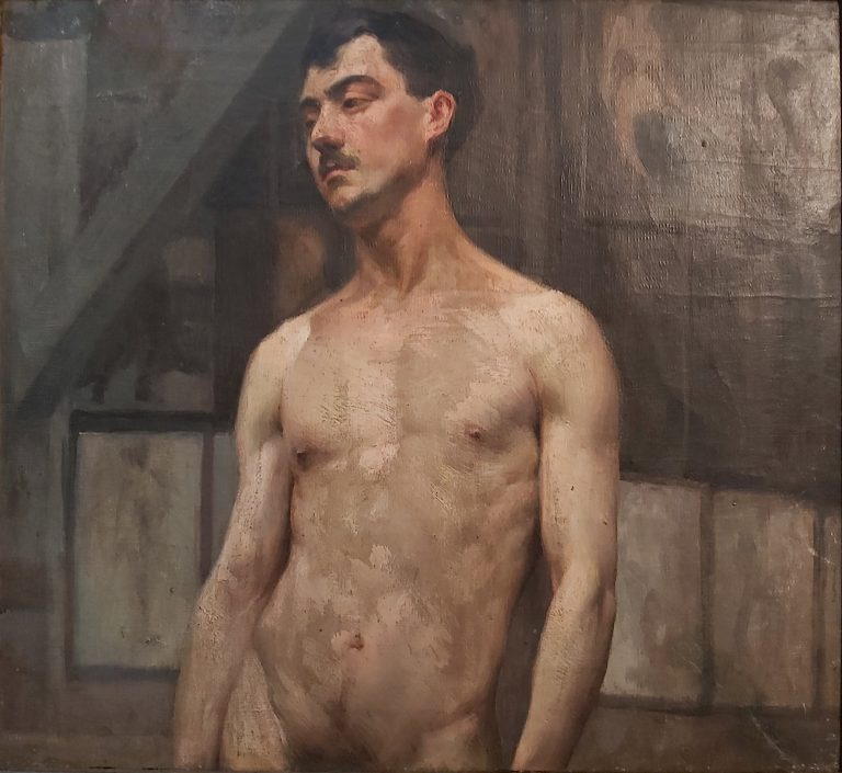 NU MASCULINO - OST - 40,0 x 44,5 cm - c.1897 - MUSEU MARIANO PROCÓPIO - JUIZ DE FORA/MG