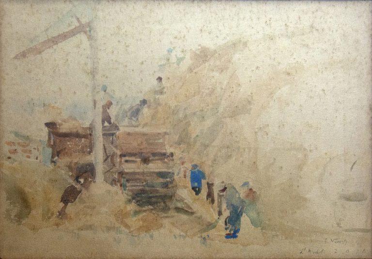 COLHENDO TRIGO EM SAINT-HUBERT - AQUARELA - 24 x 35 cm - 1918 - COLEÇÃO PARTICULAR