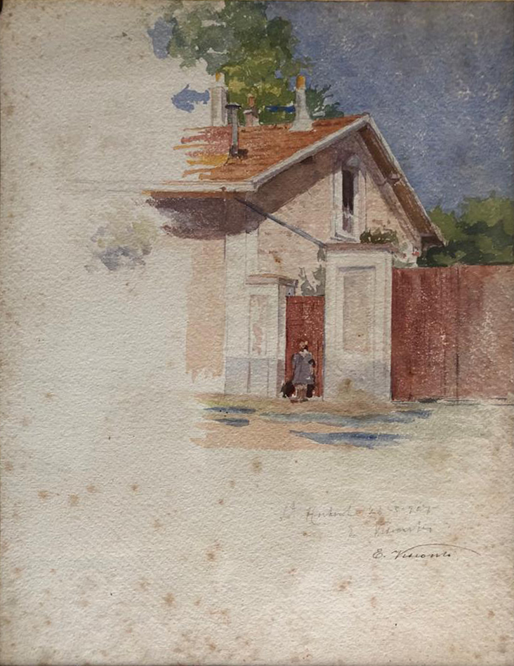 CASA DE SAINT HUBERT - AQUARELA - c.1915 - COLEÇÃO PARTICULAR