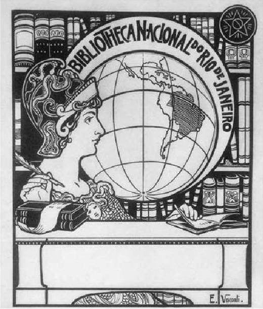 EX-LIBRIS DA BIBLIOTECA NACIONAL - PROJETO PRETERIDO - GUACHE, NANQUIM - 1903 - LOCALIZAÇÃO DESCONHECIDA