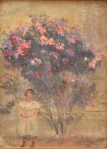 YVONNE NO JARDIM DO LUXEMBURGO - OST - 31,0 x 24,0 cm - c.1907 - COLEÇÃO PARTICULAR