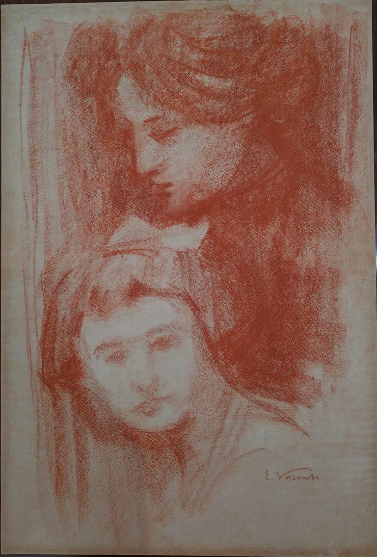 CABEÇAS - SANGUÍNEA - 46,0 x 31,9 cm - c.1910 - COLEÇÃO PARTICULAR