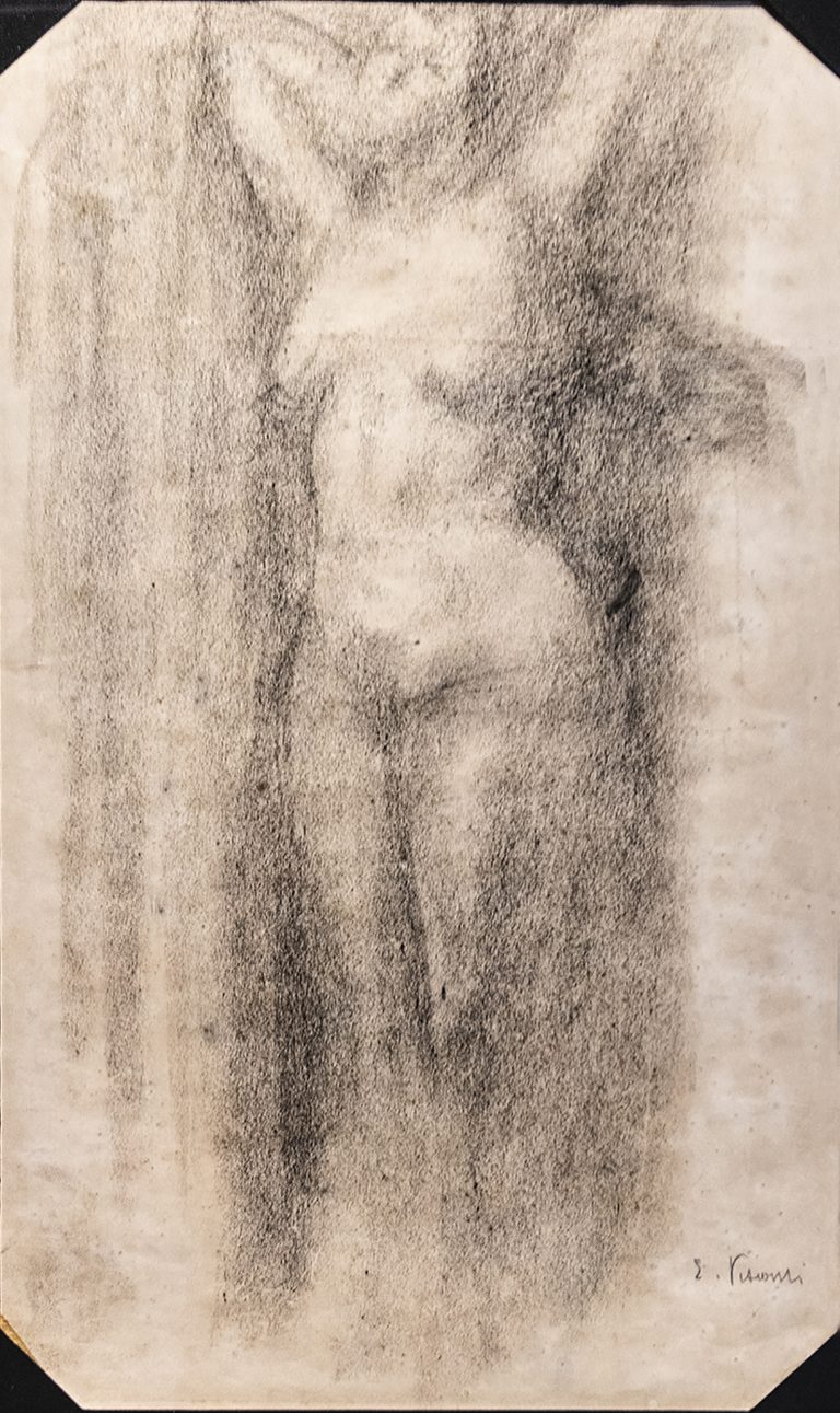 NU FEMININO DE PÉ - CARVÃO SOBRE PAPEL - 42,0 x 26,0 cm - c.1900 - COLEÇÃO PARTICULAR