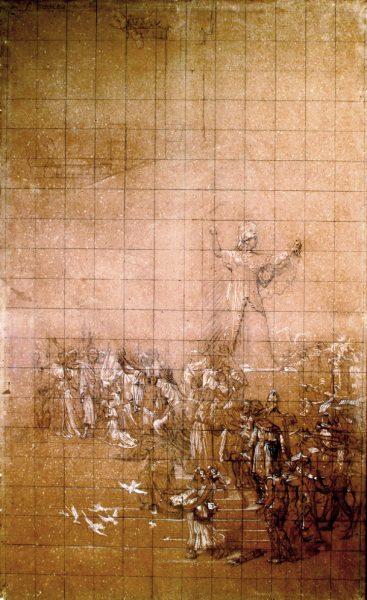 ATENA (MINERVA) - HOMENAGEM À GRÉCIA - CARTÃO DE TRANSFERÊNCIA PARA O PANO DE BOCA DO THEATRO MUNICIPAL DO RIO DE JANEIRO - CARVÃO E GIZ SOBRE PAPEL - 177 x 107 cm - c.1906 - CENTRO DE DOCUMENTAÇÃO DA FUNDAÇÃO TEATRO MUNICIPAL DO RIO DE JANEIRO