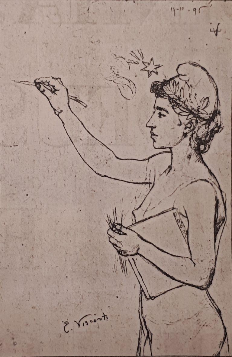 CAPA DA REVUE DU BRÉSIL EDITADA EM PARIS - ESBOÇO - CRAYON/PAPEL MANTEIGA - c.1896 - COLEÇÃO PARTICULAR